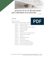 Anteproyecto de Ley de Libertad Ideológica y Pluralismo en La Educación