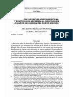 Educación Superior Latinoamericana y Políticas de Apertura Al Mercado en Los Años 90 e Inicios Del Nuevo Milenio_ Ana Esclante y Gilbeto Graffe
