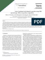 Simultaneous determination o methanol and ethanol in gasoline using NIR spectroscopy