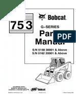 Bobcat 753 G-Series Skid Steer Loader Parts Catalogue Manual (G-Series SN516220001 and Above).pdf
