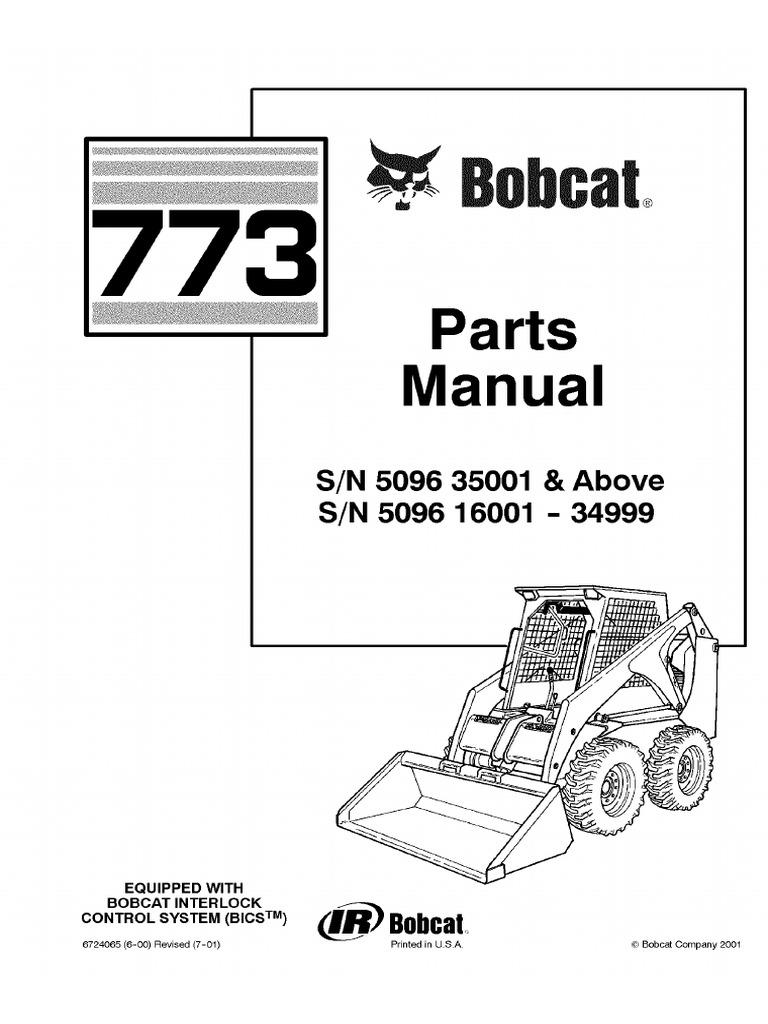 Bobcat 773 F Series Skid Steer Loader Parts Catalogue