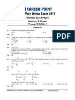 JEE Main 2019 Paper Answer Chemistry 09-01-2019 2nd