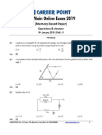 JEE Main 2019 Paper Answer Physics 09-01-2019 2nd
