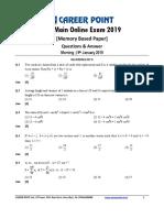 JEE Main 2019 Paper Answer Maths 09-01-2019 1st