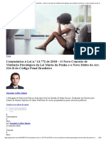 Comentários à Lei n.º 13.772 de 2018 - O Novo Conceito de Violência Psicológica Da Lei Maria Da Penha e o Novo Delito Do Art. 216-B Do Código Penal Brasileiro GEN Jurídico