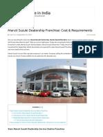 Maruti Suzuki Dealership Franchise_ Cost & Requirements