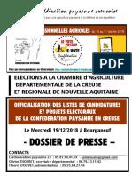 Conf paysanne Dossier.presse.listes2019