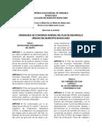 Ordenanza de Contenido General Del Plan de Desarrollo Urbano Del Municipio Maracaibo