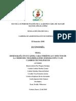DEMOGRAFÍA DEL ECUADOR, CARACTERÍSTICAS Y EFECTOS DE LA CRISIS DEL NEOLIBERALISMO (EMIGRACIÓN ) Y LOS CAMBIOS TECNOLÓGICOS