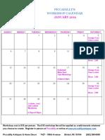 Piccadilly Workshop Calendar January 2019