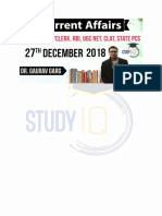 Daily Current affairs English of 27th Dec 2018 PDF For Govt Exams- StudyIQ