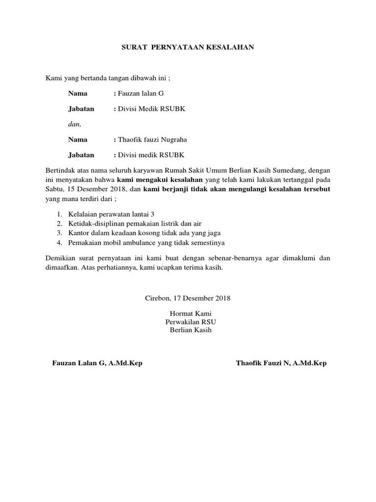 Surat Pernyataan Kesalahan