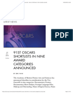 91st Oscars Shortlists in Nine Award Categories Announced - Oscars 2019 News | 91st Academy Awards