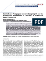 Curricula and Pedagogical Issues in Designing Oil and Gas Management Programmes in Tanzania