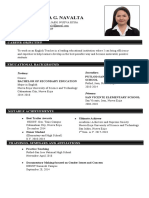 SAMPLE RESUME FOR TEACHER