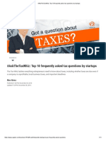 Tax Questions by Start ups
