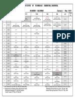 Academic Calendar Jan - May 2019