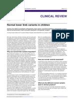 Normal Lower Limb Variants in Children