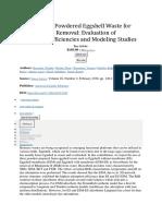 Utilization of Powdered Eggshell Waste for Rhodamine B Removal