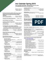 UTD Academic Calendar Spring 2019