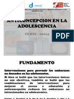 Anticoncepcion en La Adolescencia Cemse