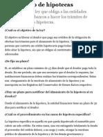 Alzamiento de hipotecas - Ley fácil - Biblioteca del Congreso Nacional de Chile