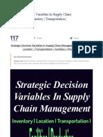 strategic decision in supply chain