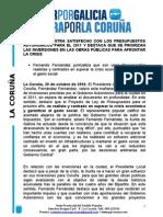 NOTA PP LOCAL PRESUPUESTOS XUNTA- MIÉRCOLES 20 OCTUBRE