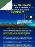 EVALUACION DEL IMPACTO AMBIENTAL  PARA PROYECTOS DE RESIDUOS.ppt
