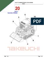 Takeuchi TL120 Crawler Loader Parts Manual (SN 21200008 and Up)