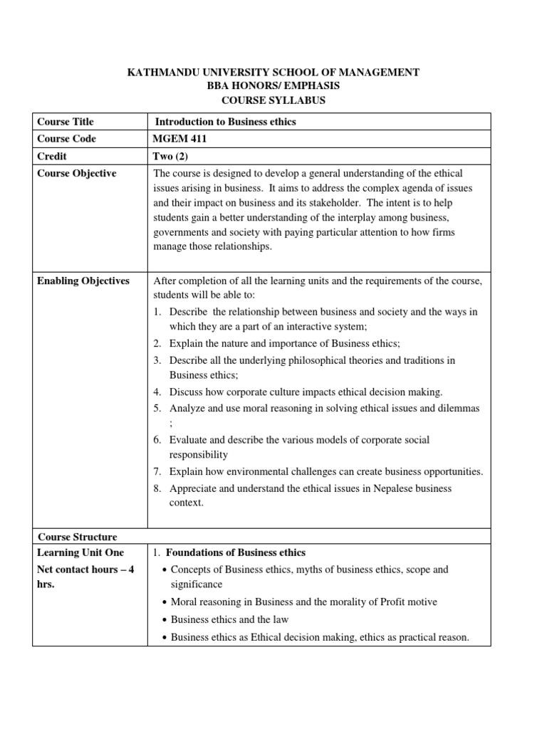 1 Course profile docx | Business Ethics | Corporate Social