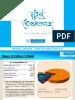 Financial Results Quarter Ended September 2014