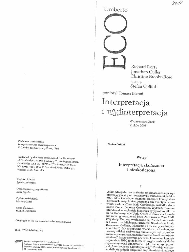 Eco I In Interpretacja I Nadinterpretacja