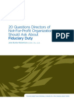 20 Questions Directors of Not-For-profit Organizations Should Ask About Fiduciary Duty