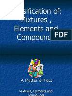 Classification Of Elements, Mixtures and Compounds