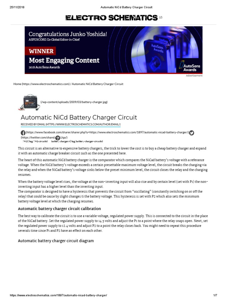 Automatic NiCd Battery Charger Circuit | Battery Charger ... on