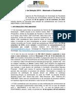 Edital Regular Sociologia UFMG 2019