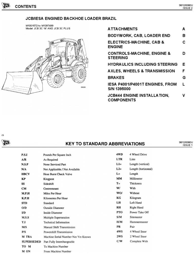 Catalogo de Pecas Retroescavadeira Jcb 3c Plus (4x4) | Loader