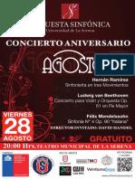 Afiche Agosto Orquesta Sinfónica Universidad de La Serena