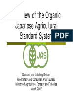 Overview of the Organic Japanese Agricultural Standard System (2007)