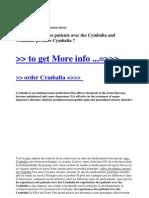 Les Experiences Des Patients Avec Des Cymbalta and Comment Prendre Cymbalta