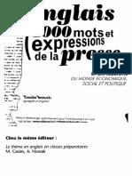 Anglais - 1000 Mots Et Expressions de La Presse