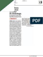 In scadenza le iscrizioni al Master in Criminologia - Il Corriere Adriatico del 15 gennaio 2019