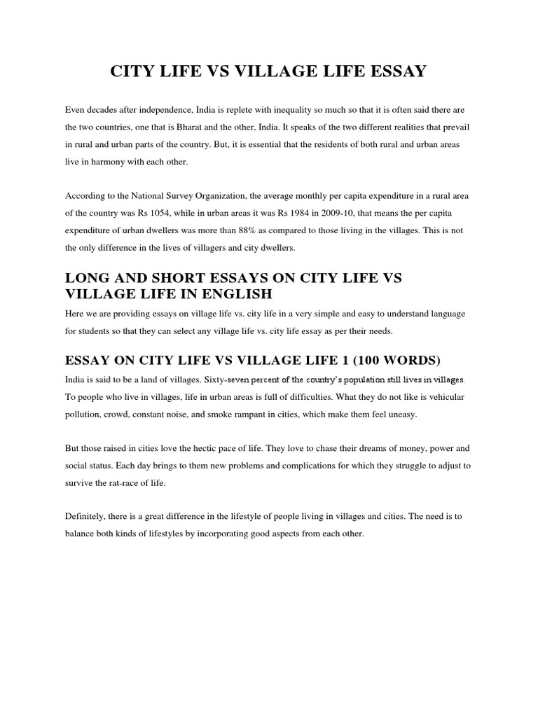 City Life Short Essay In English - Short essay on life in villages