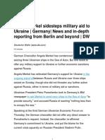Angela Merkel Sidesteps Military Aid to Ukraine