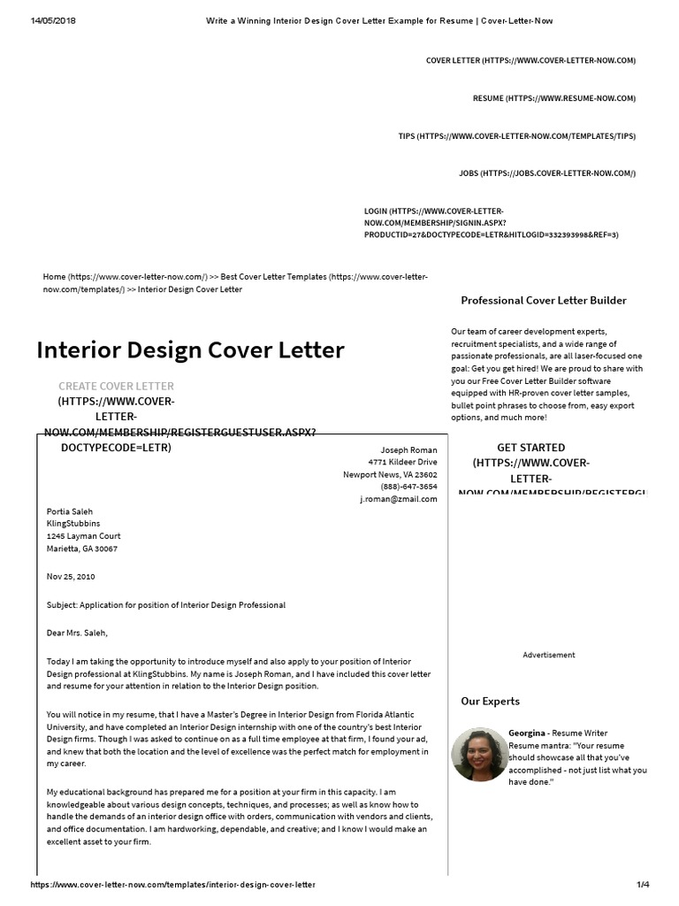 Write A Winning Interior Design Cover Letter Example For