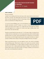 Letter to General Sarath Fonseka - English
