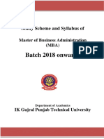 MBA syllabus of PTU 2018