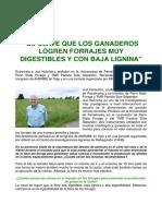 """""""Es Clave Que Los Ganaderos Logren Forrajes Muy Digestibles y Con Baja Lignina"""""""