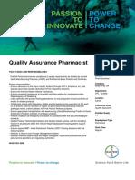 Quality Assurance Pharmacist - Isando